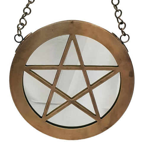 Pentacle Hanging Metal Mirror 18cm