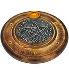 Pentacle Round Wood Incense Holder