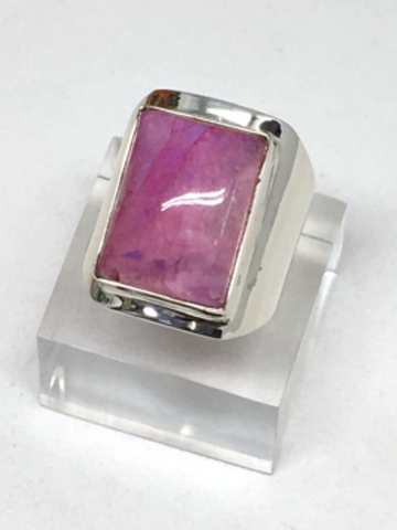 Moonstone Pink (dyed) Sterling Silver Ring - size 56