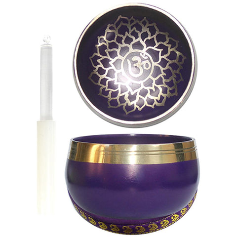 7.5cm Purple Singing Bowl with Cushion & Glass Stick - Crown Chakra