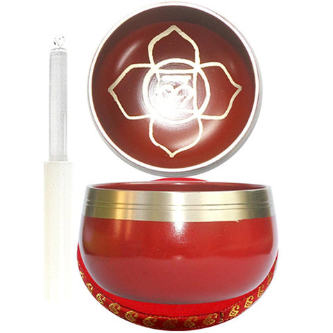 7.5cm Red Singing Bowl with Cushion & Glass Stick - Root Chakra