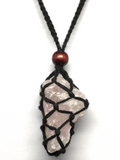 Rose Quartz in Black Macrame Necklace