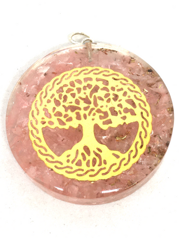 Rose Quartz Tree Of Life Orgonite Pendant
