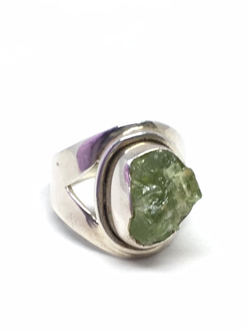 Rough Peridot Sterling Silver Ring - Size 6
