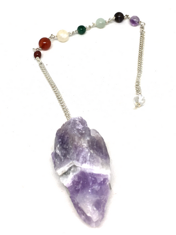 Chevron Amethyst Rough Pendulum