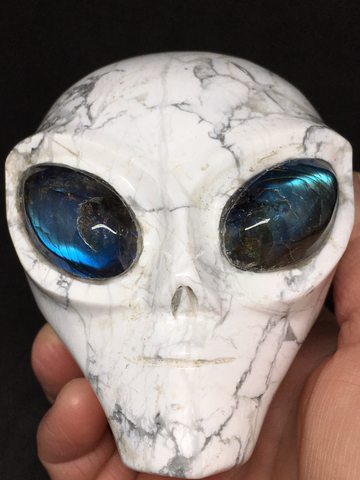 Howlite Alien Skull with Labradorite Eyes #410