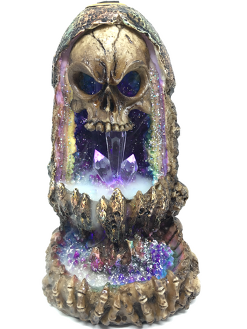 Skull with Light Up Geode Backflow Burner 17cm