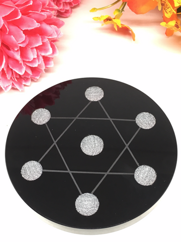 Star Of David Plate - Black Obsidian 10cm