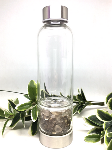 Smokey Quartz Crystal Water Bottle -Stainless Steel