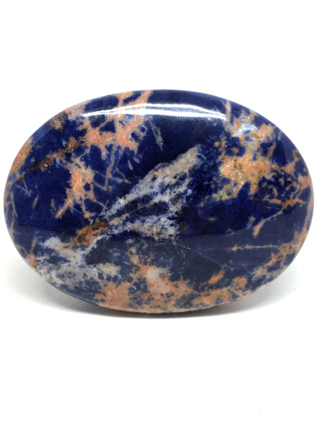 Sodalite Spiderweb Palm Stone #111