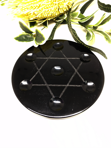 Star Of David Plate - Black Obsidian 15cm