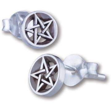 Pentagram Studs (tiny) - Sterling Silver