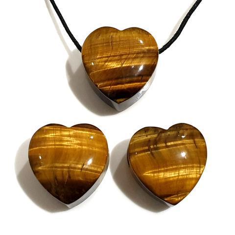 Gold Tiger Eye Heart Pendant 30mm