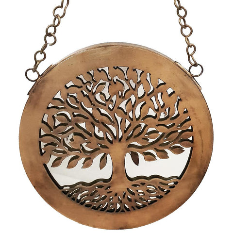 Tree Of Life Hanging Metal Mirror 18cm