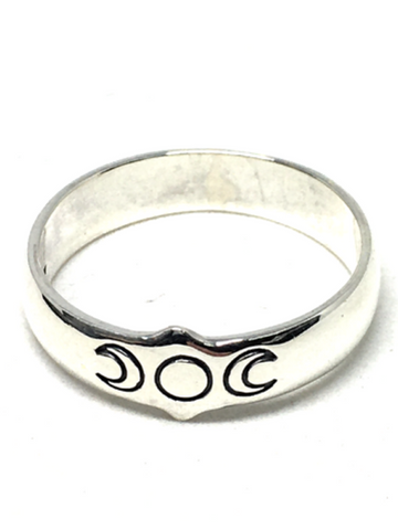 Triple Moon Sterling Silver Ring - Size Medium / Large
