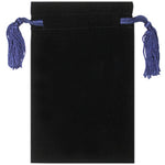 "Velvet Bag with Blue Tassels & Blue Satin Lining 8"" x 5"""