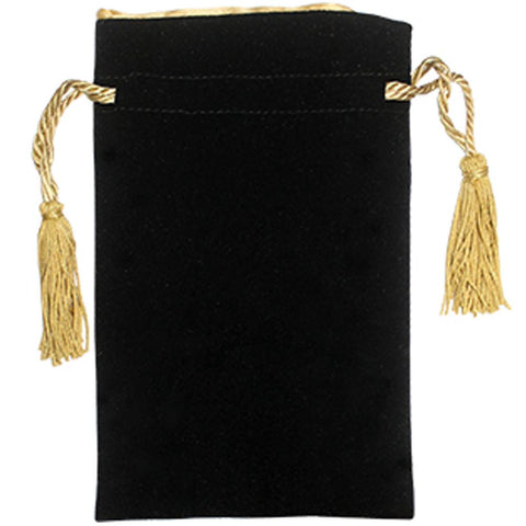 "Velvet Bag with Gold Tassels & Satin Gold Lining 8"" x 5"""