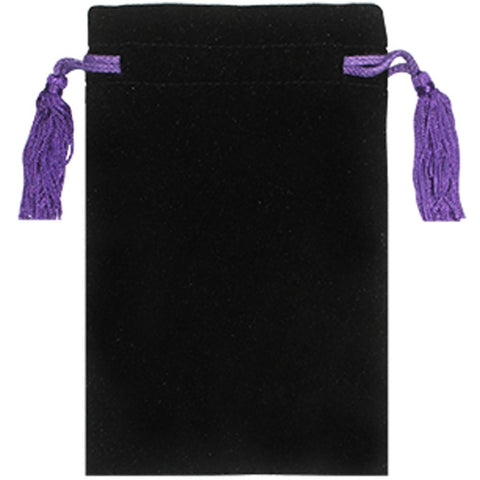 "Velvet Bag with Purple Tassels & Purple Satin Lining 8"" x 5"""