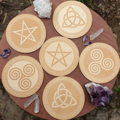 Set of 6 Witchy Coasters / Celtic Wicca Pagan Tiles - Golden