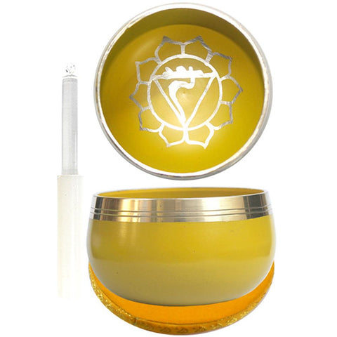 7.5cm Yellow Singing Bowl with Cushion & Glass Stick - Solar Plexus Chakra