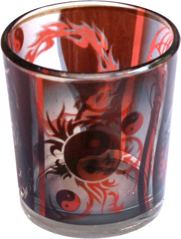 Ying Yang Printed Glass Votive