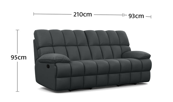 Atlas 2.5 Seater with End Recliners Dimensions