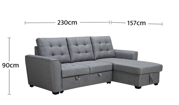 Aurore 3 Seater Sofabed Dimensions