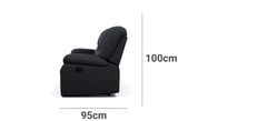Harmony 2 Seater with End Recliners Depth Height