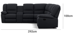 Harmony 6 Seater with 5 Recliners and 2 Consoles Depth Height