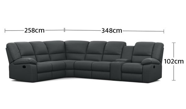 Harmony 6 Seater Corner Modular with 1 Console Dimensions