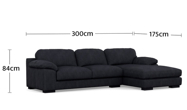 Jacqui 3.5 Seater Chaise Dimensions