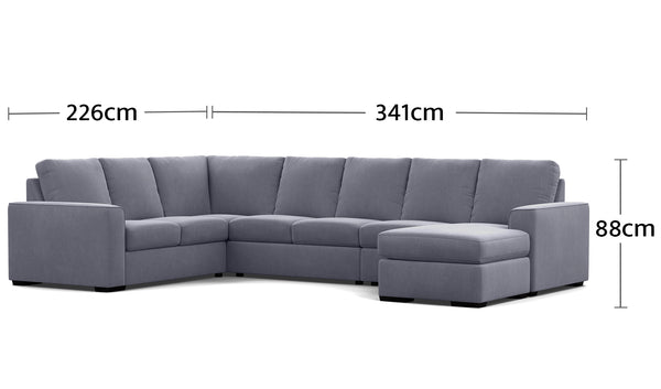 Urban 7 Seater Corner Modular with Reversible Chaise Dimensions