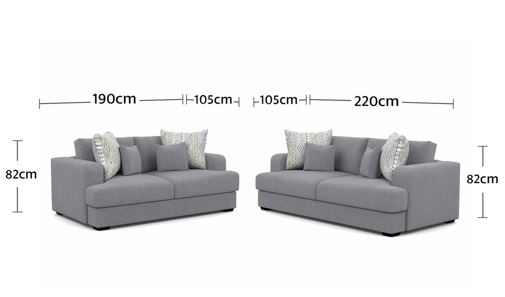 Watson 2.5 Seater + 3 Seater Dimensions
