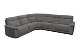 Clint 5 Seater Corner Chaise with 4 Recliners and 1 Console Mercury Carbon Steel