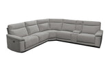 Clint 5 Seater Corner Chaise with 4 Recliners and 1 Console Mercury Grey Gum