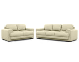 Royal 2 Seater + 3 Seater Lounge Package Leather Fairy White