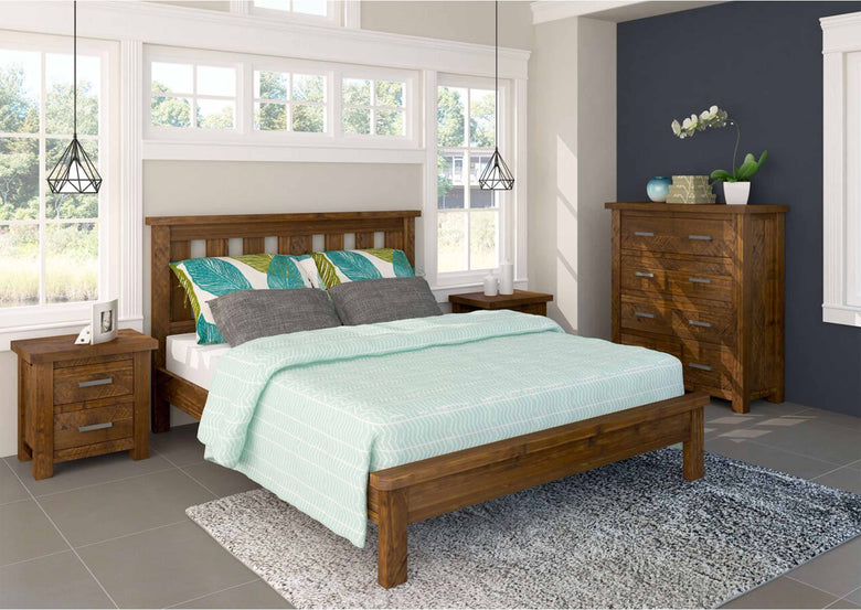 Queen 4 Piece Bedroom Suite with Bed, 2 Bedside Tables and Tall Boy
