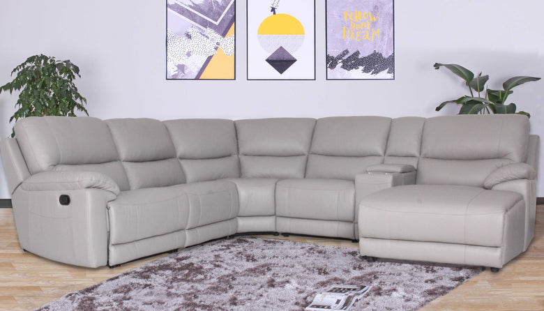 5 Seater Corner Modular with End Recliner, Reclining Chaise and Console