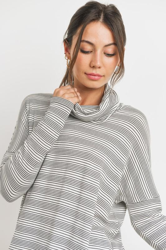 Black And Cream Loose Turtle Neck Top