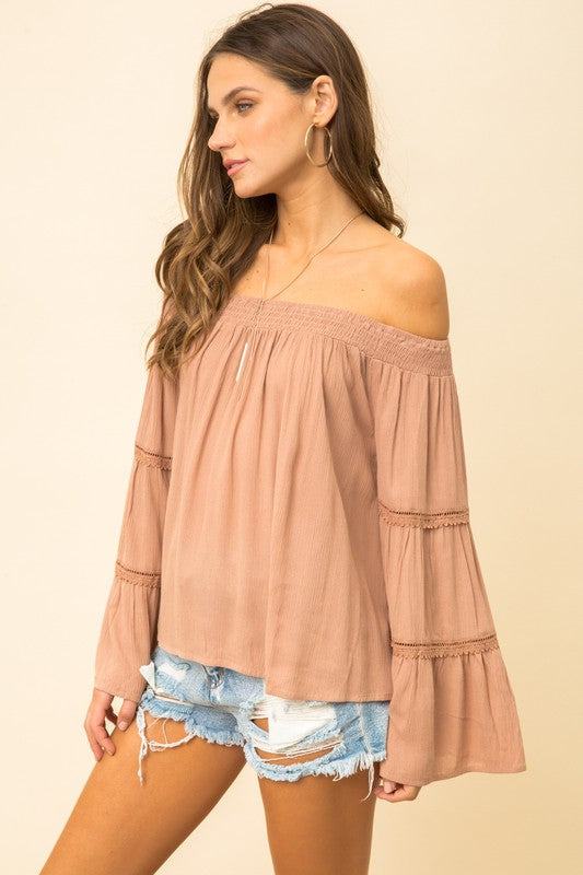 Oh My Off The Shoulder Mocha Top