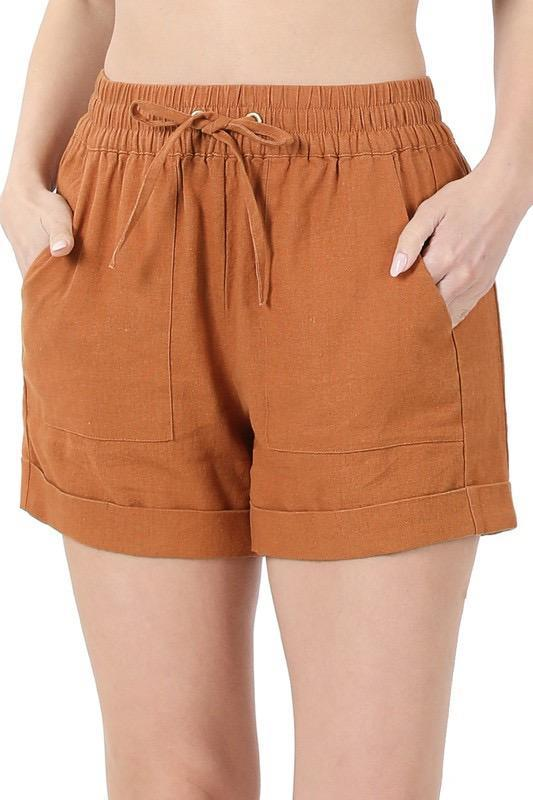 Linen Drawstring Shorts With Pockets