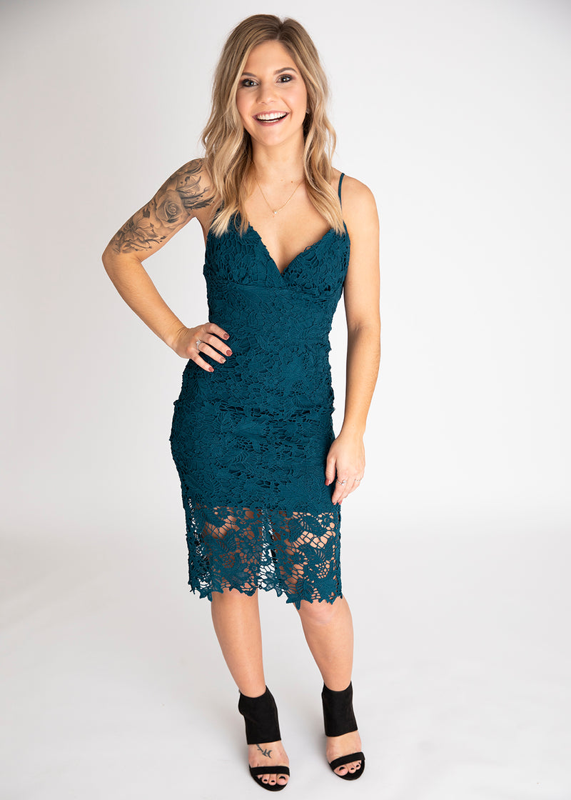 Take Me There Teal Lace Dress