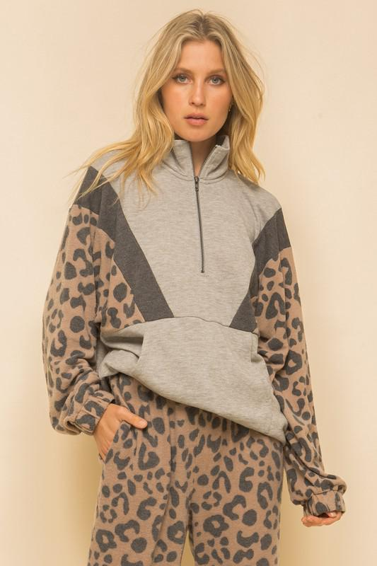Super Soft Leopard Print Zip-Up Pullover