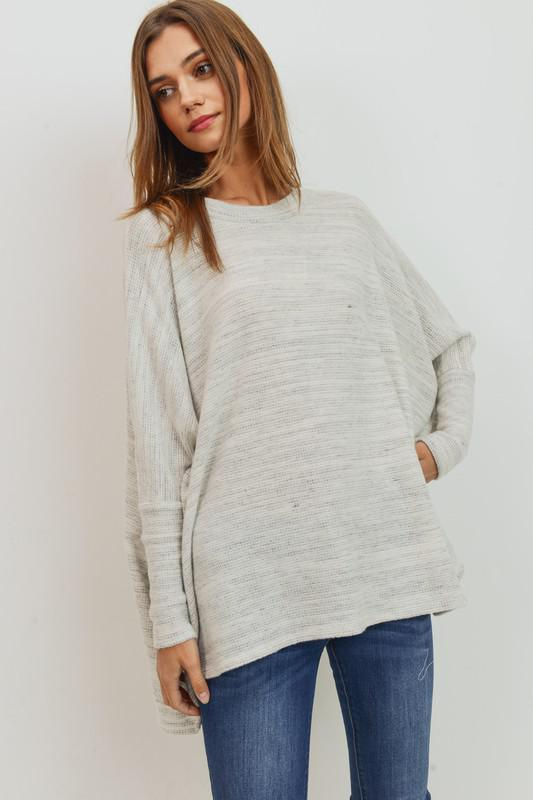 Brushed Marbled Knit Top