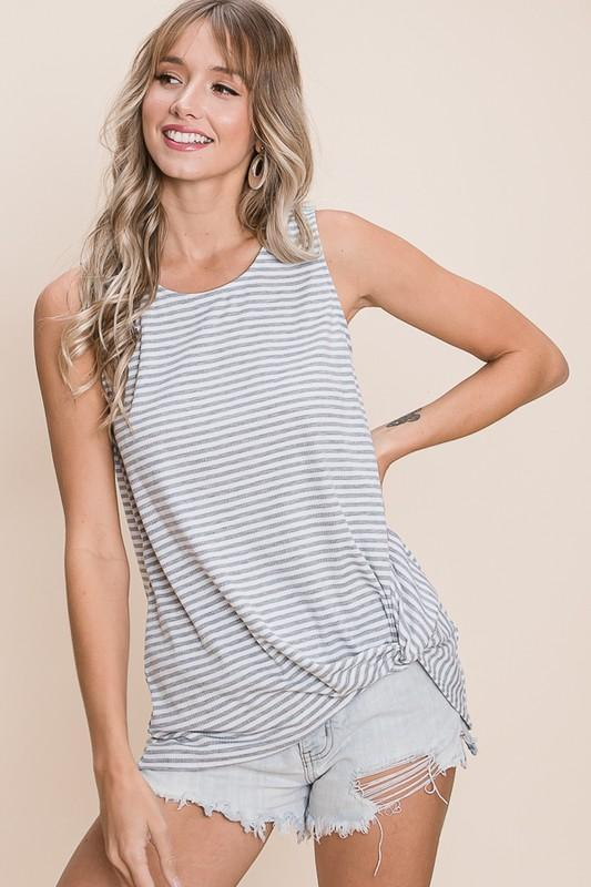 Heather Grey Stripe Tank