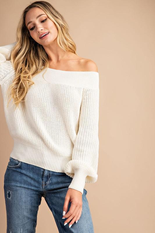 Off The Shoulder Balloon Sleeve Sweater