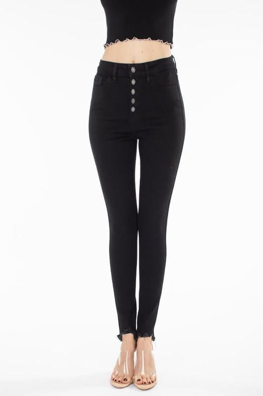 High Rise KanCan Black Button Fly Super Skinny Jeans