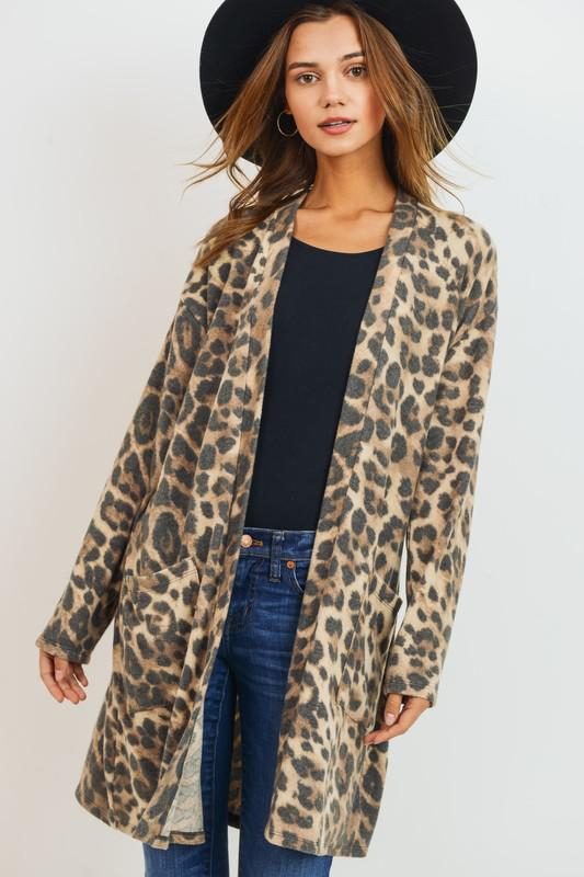 Brushed Leopard Pocket Cardigan