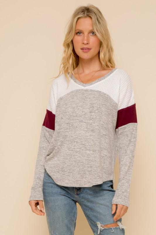 Maroon V-Neck Long Sleeve