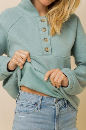 Mint Fleece Button Down Hoodie
